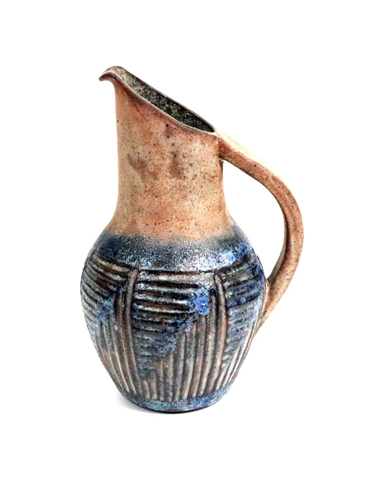 1960s French Ceramic Decorative Pitcher by Alexandre Kostanda In Excellent Condition For Sale In Denver, CO