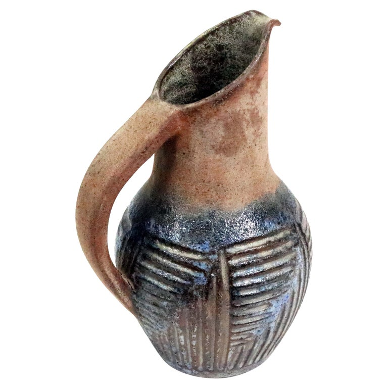1960s French Ceramic Decorative Pitcher by Alexandre Kostanda For Sale