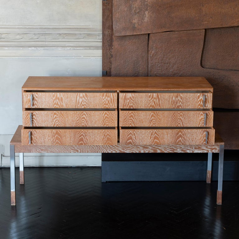 Mid-Century Modern 1960s French Cerused Oak Chest of Drawers, Natural Brushed Steel Details For Sale