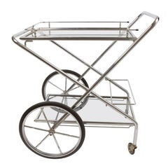1960s French Chrome and Glass Drinks Trolley