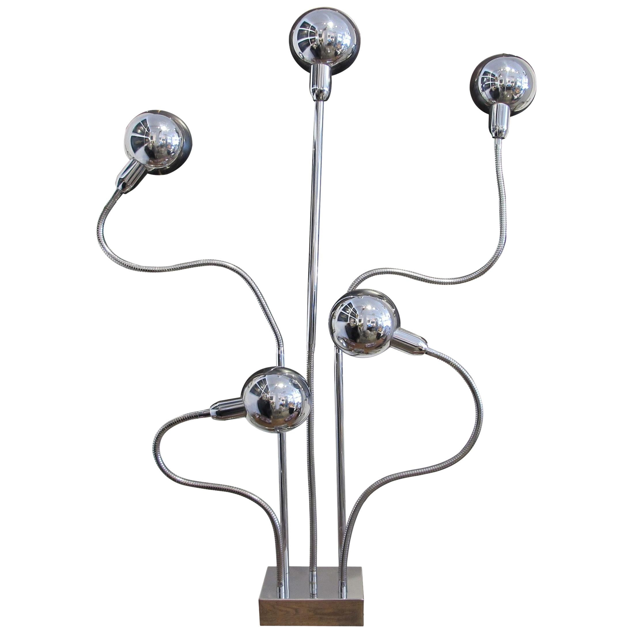 1960s French Chrome Floor 'Hydra' Lamp by Pierre Folie for Jacques Charpentier