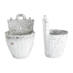 1960s French Concrete Planters, a Pair