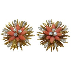 1960s French Coral Diamond Flower Gold Platinum Earrings