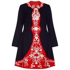 1960s French Couture Navy and Red Wool Crepe Embroidered Mod Dress