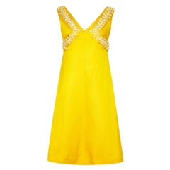 1960s French Couture Yellow Silk Dress with 3D Floral Beading