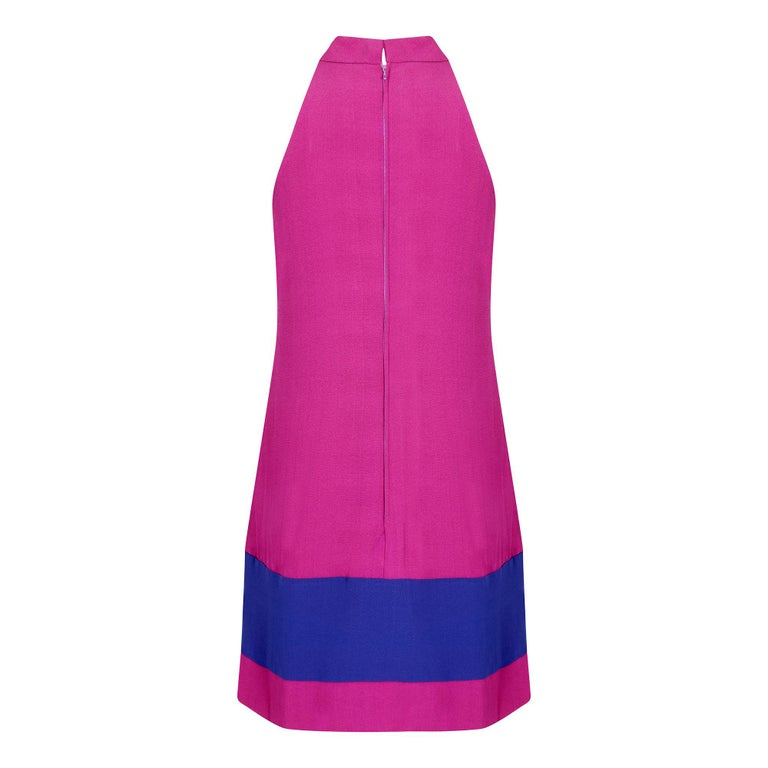 1960s French Crepe Pink & Purple Trapeze Dress In Excellent Condition For Sale In London, GB