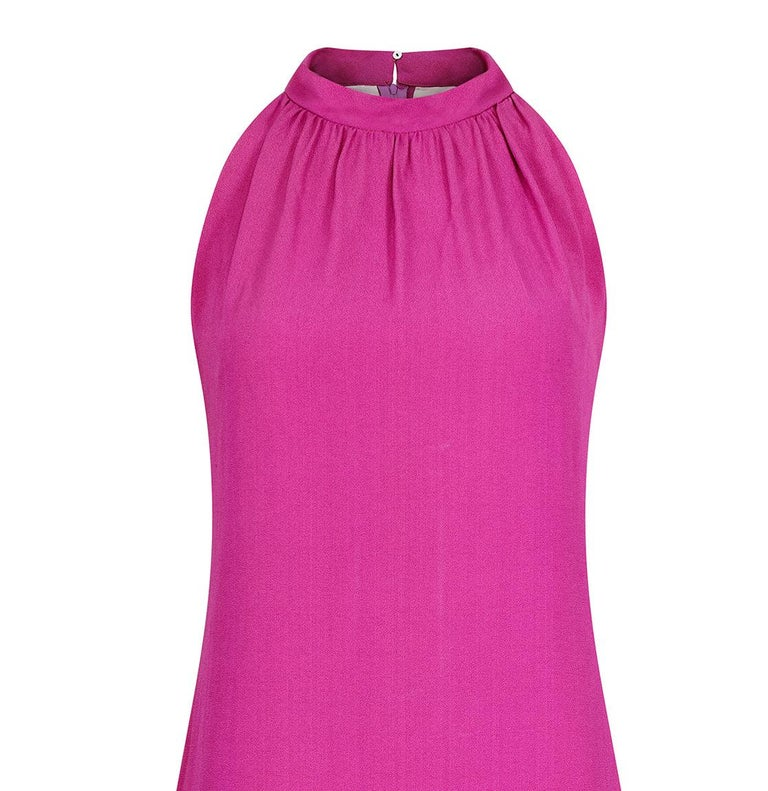1960s French Crepe Pink & Purple Trapeze Dress For Sale 1