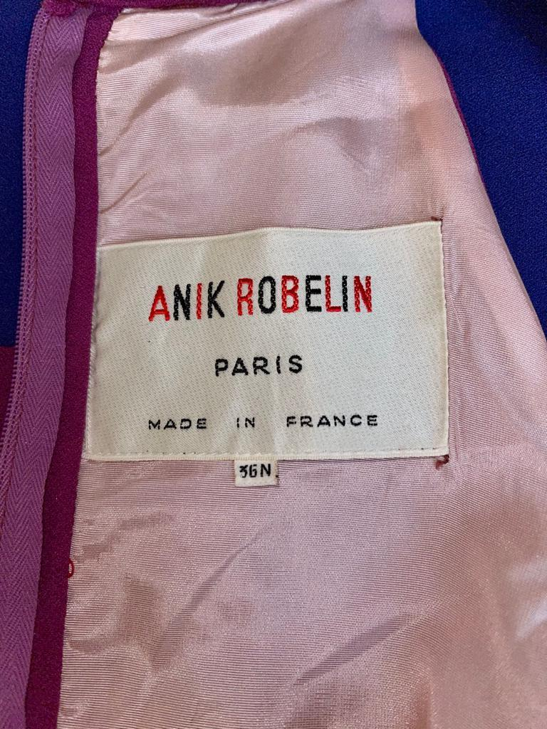 1960s French Crepe Pink & Purple Trapeze Dress For Sale 3