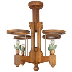 1960s French Design Oak and Ceramics Chandelier by Guillerme and Chambron