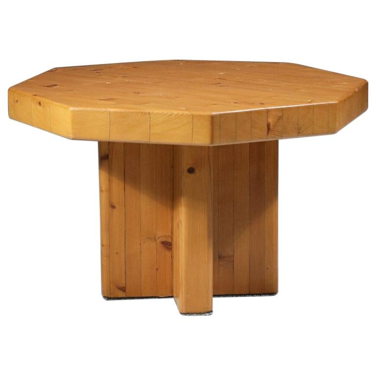 1960's French Design Pine Coffee Table Attributed to Charlotte Perriand