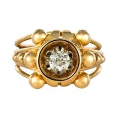1960s French Diamond 18 Karat Yellow Gold Ring