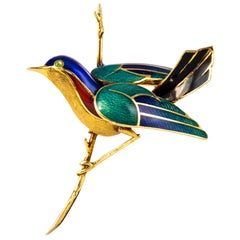 1960s French Enamelled Bird on its Branch 18 Karat Yellow Gold Brooch