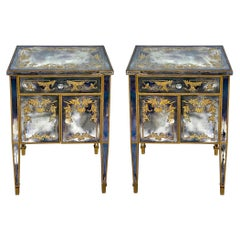 1960s French Englomise Mirrored Chests / Side Tables Att. Maison Jansen, Pair