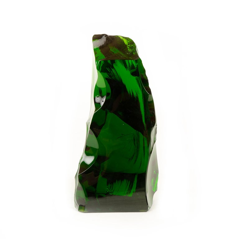 1960s French Green Crystal Sculpture by Baccarat In Good Condition For Sale In Sagaponack, NY