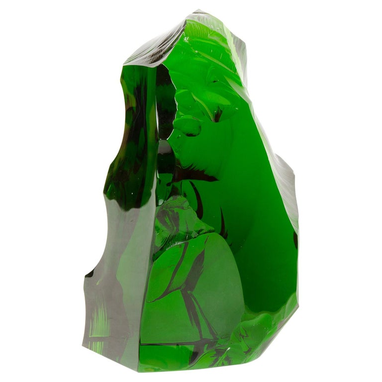 1960s French Green Crystal Sculpture by Baccarat For Sale