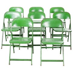 1960s French Green Metal Folding Chairs, Set of Eight