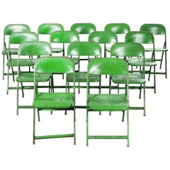 1960s French Green Metal Folding Chairs, Set of Fourteen