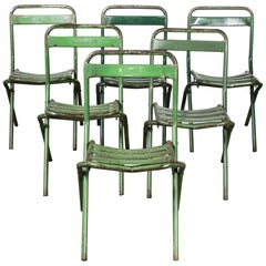 1960s French Green Metal Folding Chairs, Set of Six