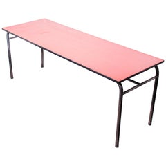 1960s French Large Industrial Work, Dining Table, Laminate Top '3'