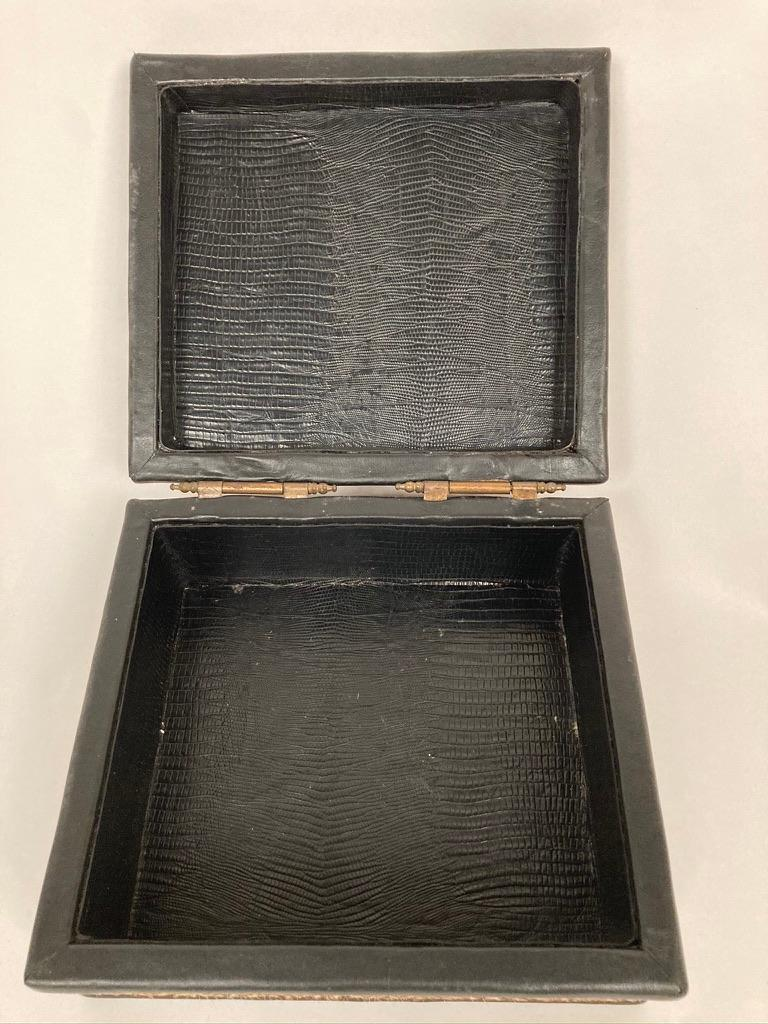 1960s French Leopard Box with Lizard Skin Interior and Black Leather Trim For Sale 4