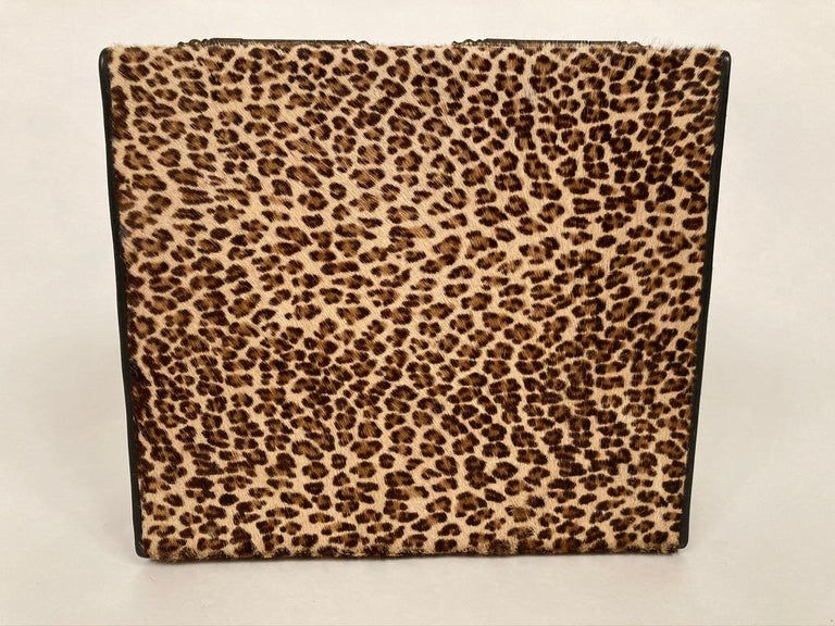 1960s French Leopard Box with Lizard Skin Interior and Black Leather Trim For Sale 8