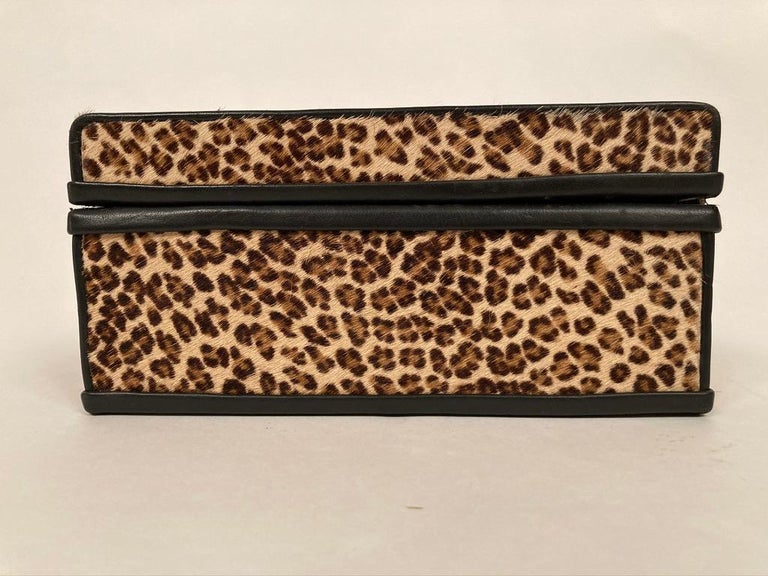 1960s French Leopard Box with Lizard Skin Interior and Black Leather Trim For Sale 9