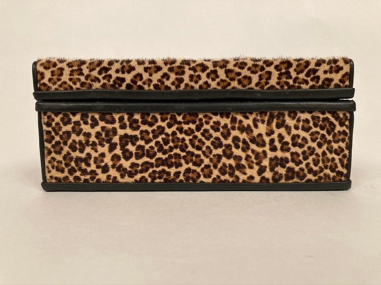 1960s French Leopard Box with Lizard Skin Interior and Black Leather Trim For Sale 10