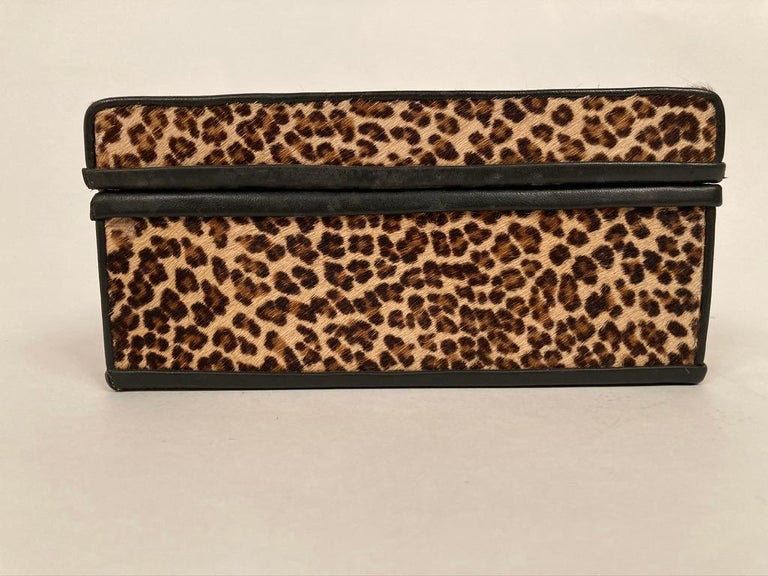 1960s French Leopard Box with Lizard Skin Interior and Black Leather Trim For Sale 11