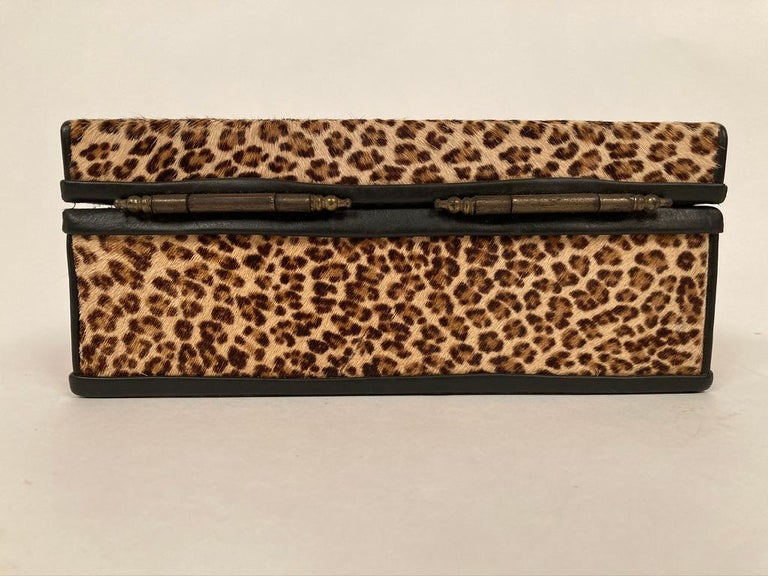 1960s French Leopard Box with Lizard Skin Interior and Black Leather Trim For Sale 12