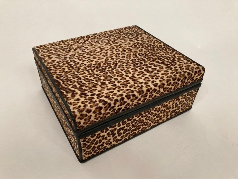 1960s French Leopard Box with Lizard Skin Interior and Black Leather Trim For Sale 13