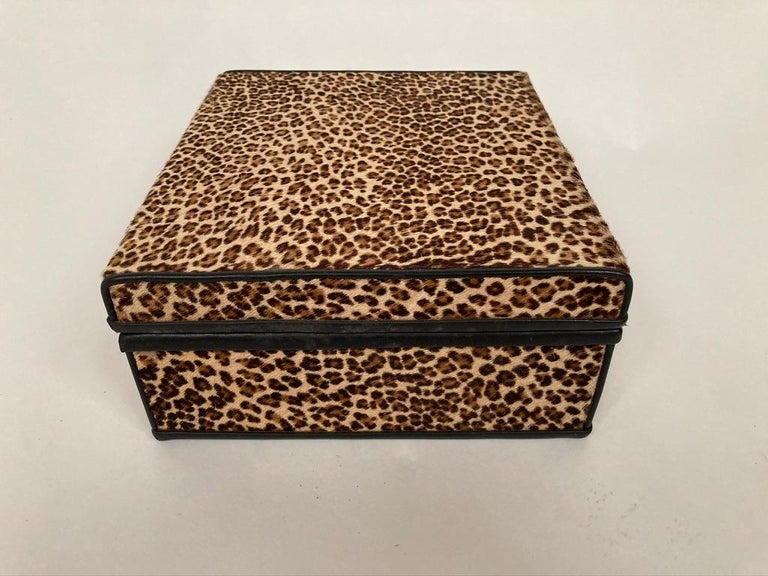Mid-Century Modern 1960s French Leopard Box with Lizard Skin Interior and Black Leather Trim For Sale