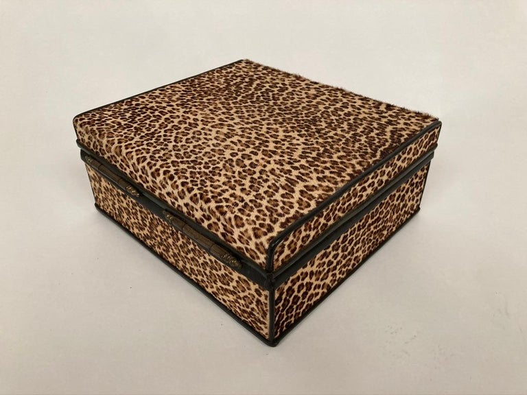 1960s French Leopard Box with Lizard Skin Interior and Black Leather Trim In Good Condition For Sale In Stamford, CT