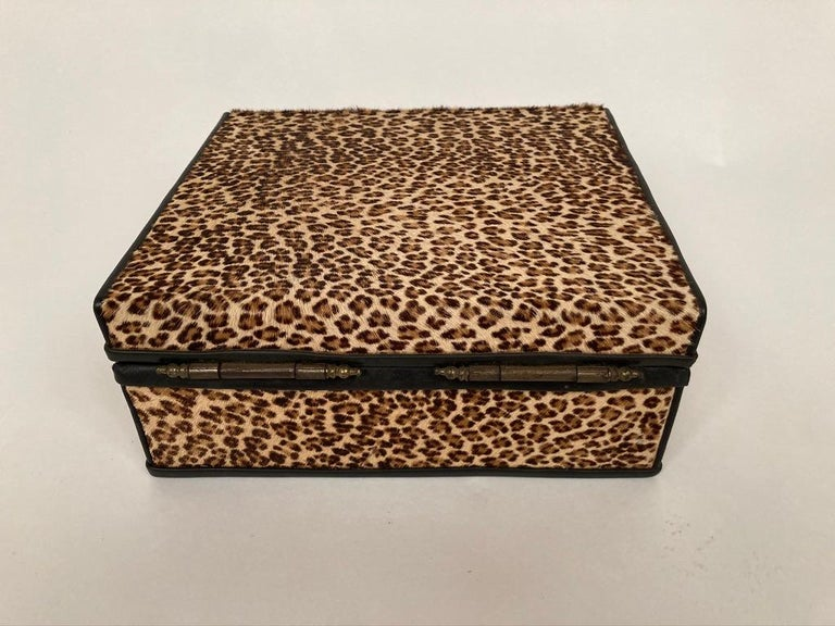 20th Century 1960s French Leopard Box with Lizard Skin Interior and Black Leather Trim For Sale