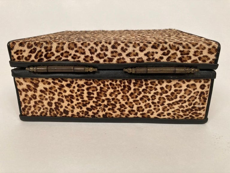 Fur 1960s French Leopard Box with Lizard Skin Interior and Black Leather Trim For Sale