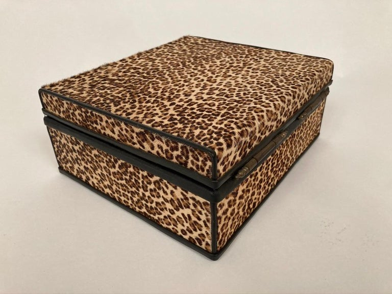 1960s French Leopard Box with Lizard Skin Interior and Black Leather Trim For Sale 1