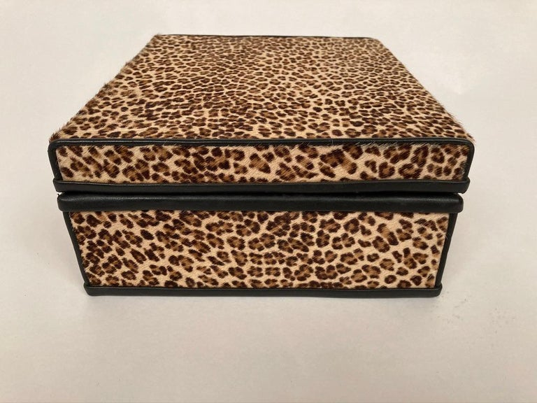 1960s French Leopard Box with Lizard Skin Interior and Black Leather Trim For Sale 2