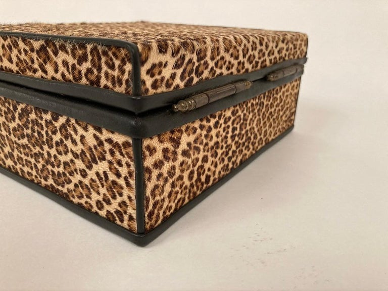 1960s French Leopard Box with Lizard Skin Interior and Black Leather Trim For Sale 3