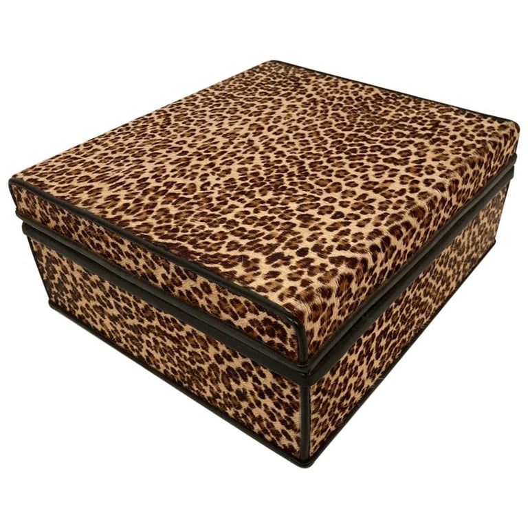 1960s French Leopard Box with Lizard Skin Interior and Black Leather Trim For Sale