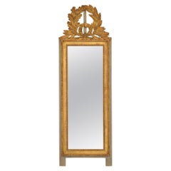 1960s French Louis XVI Giltwood Mirror with Wreath Crest
