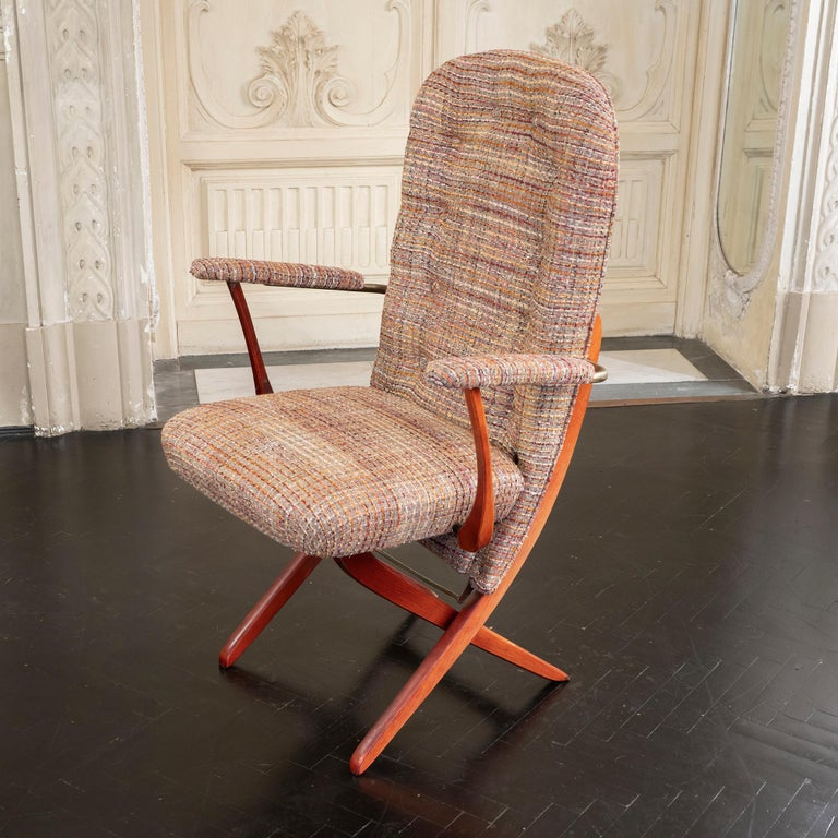 1960s French Mahogany Reclining Armchairs, Bouclè Chanel Fabric, Brass Details For Sale 6