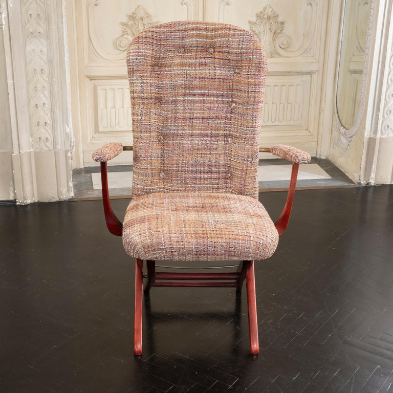 1960s French Mahogany Reclining Armchairs, Bouclè Chanel Fabric, Brass Details For Sale 8