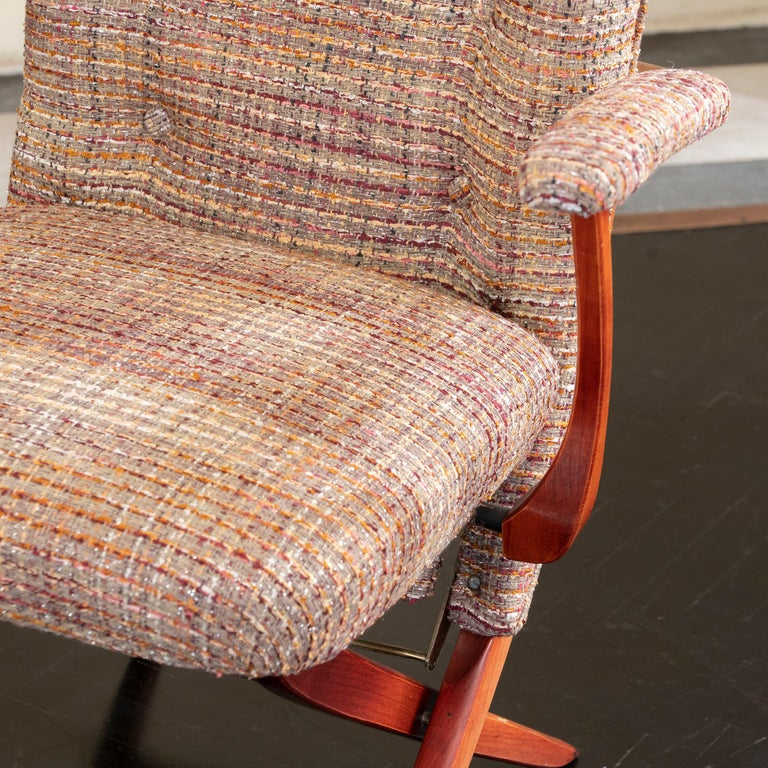 1960s French Mahogany Reclining Armchairs, Bouclè Chanel Fabric, Brass Details For Sale 9
