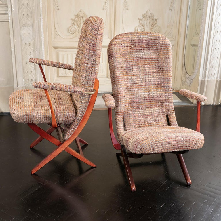 Mid-Century Modern 1960s French Mahogany Reclining Armchairs, Bouclè Chanel Fabric, Brass Details For Sale