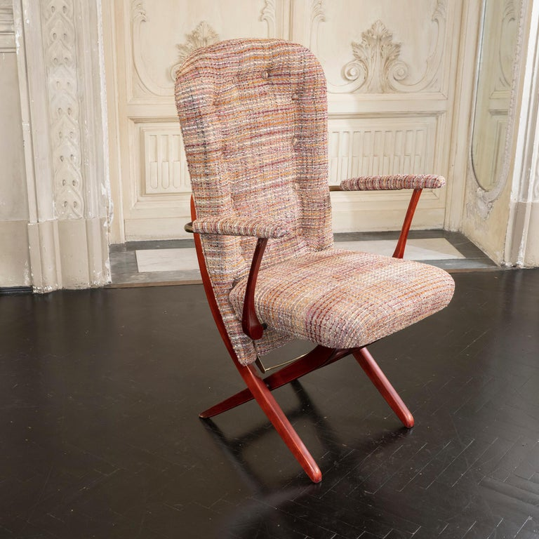 1960s French Mahogany Reclining Armchairs, Bouclè Chanel Fabric, Brass Details For Sale 4