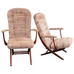 1960s French Mahogany Reclining Armchairs, Bouclè Chanel Fabric, Brass Details