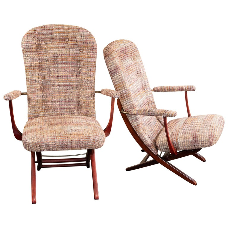 1960s French Mahogany Reclining Armchairs, Bouclè Chanel Fabric, Brass Details For Sale
