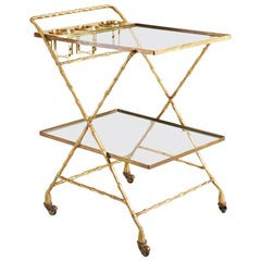 1960s French Maison Jansen Brass Faux Bamboo Bar Cart