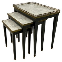 1960s French Marble and Brass Nest of Tables