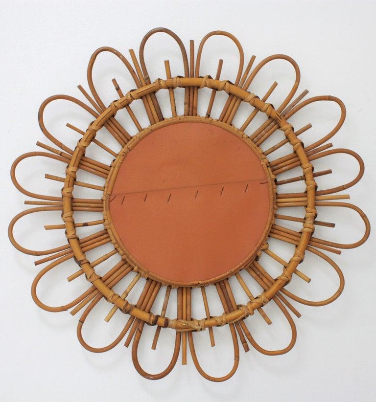 1960s French Mediterranean Coast Flower Burst Bamboo Rattan Mirror For Sale 2