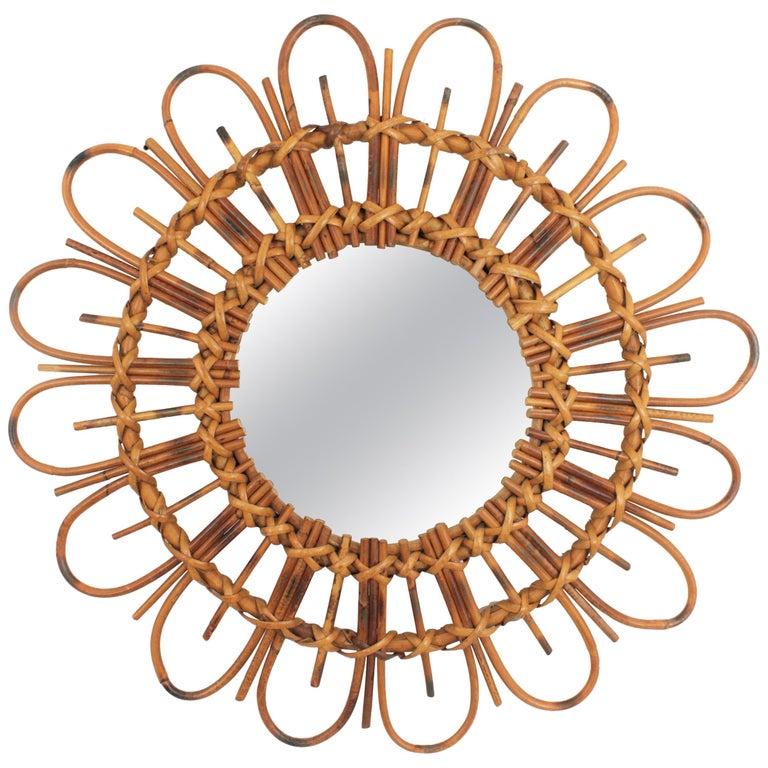 1960s French Mediterranean Coast Flower Burst Bamboo Rattan Mirror For Sale